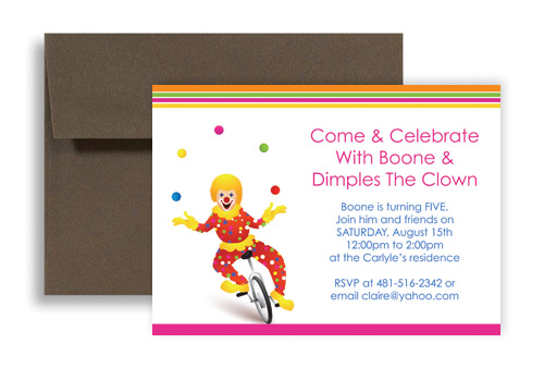 Circus Clown Themed Kids Birthday Invitation Ideas 7x5 In