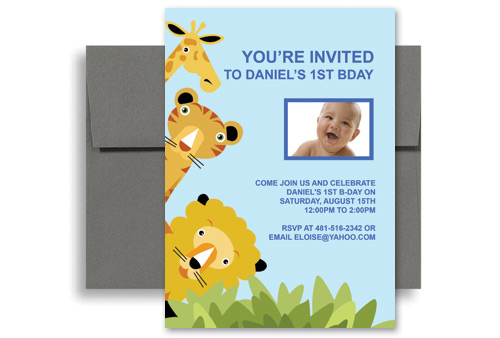 birthday invitation template kid 1007 animal zoo party 1st birthday ...