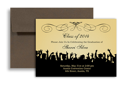 2017 Ribbon Pattern Black Blank Graduation Announcement 7x5 in. Horizontal
