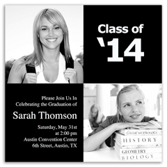 Black And White College Graduation Invitation Design