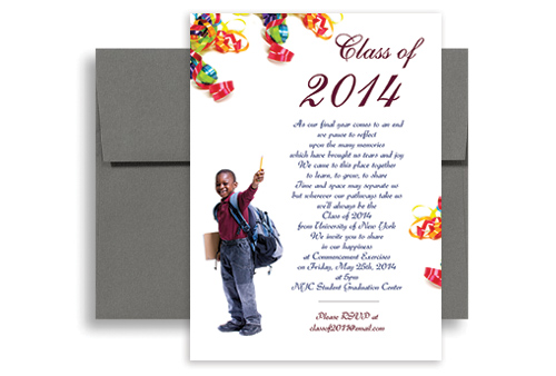 2016 5th Grade Elementary Graduation Invitation Example 5x7 in. Vertical