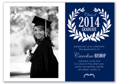 Blue Personalize Photo Graduation Invitation Example