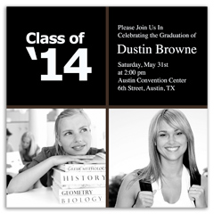 Square Contemporary Graduation Invitation Example