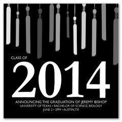 Elegant Black White Honor Cords Graduation Invite
