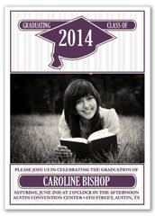 Purple Stripes Printable Graduation Invitation