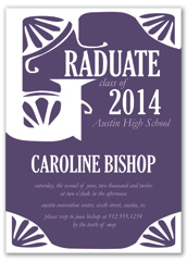 Purple White Printable Graduation Invitation