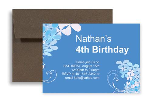blue boy four year old birthday invitation design 7x5 in
