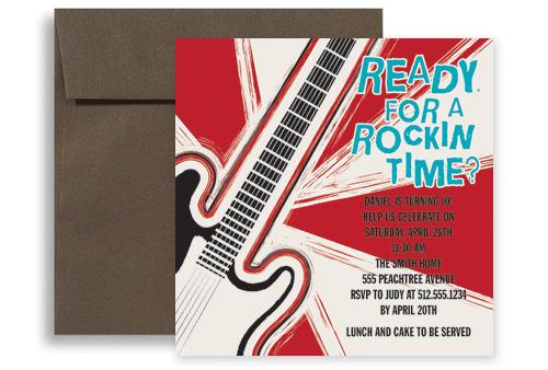 Guitar Game Party Birthday Invitation Design 5x5 in ...