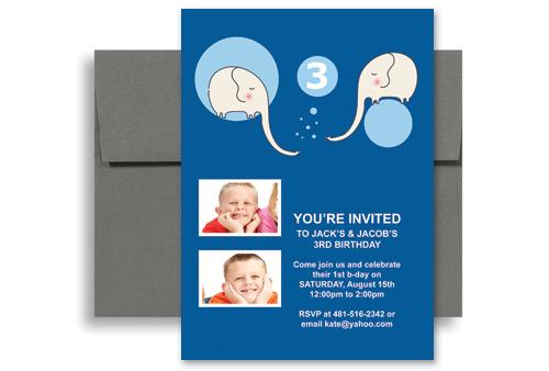 brothers twin boys blank birthday invitation 5x7 in