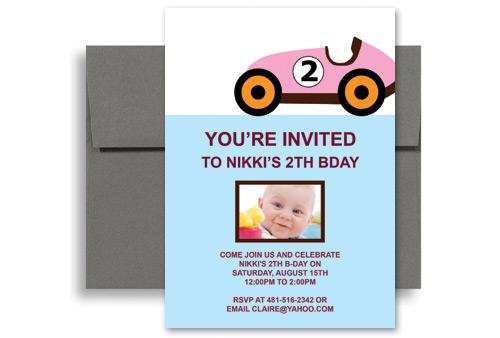 Two Year Old Girl Pink Car Blank Birthday Invitation 5x7