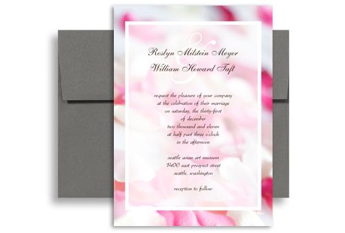 pink white rose background blank wedding invitation 5x7 in