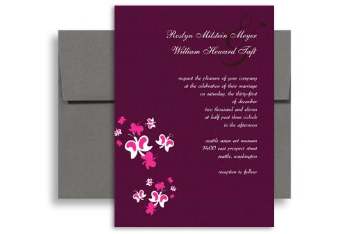 Purple Butterfly Orchid Blank Wedding Invitation 5x7 in ...